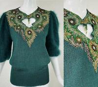 Vintage LILLIE RUBIN Green Beaded Angora Mohair Evening Top Sweater, S/M