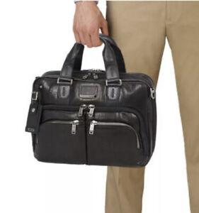 Tumi Albany Slim Commuter Black Leather Brief NWT $700