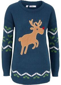 Damen Weihnachtspullover mit Rentier-Patch  in dunkelblau  Gr. 44/46 - Neu