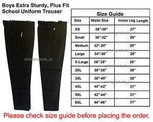 Boys Extra Sturdy Plus Fit Stain Resistant School Uniform Trousers Grey Black