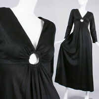 S Vintage 1960s Black Maxi Cocktail Dress Deep V Long Sleeve Cut Out Mod 60s