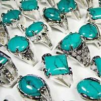5pcs silver plated Green Turquoise rings wholesale jewelry lot NEW free shipping