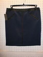 Worthington Misses 16 PETITE Blue Skirt w Black Faux Leather Trim FREE Shpg NWTA