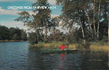 FAIRVIEW MICHIGAN Fly Fishing Greetings Postcard