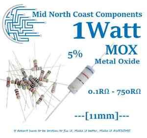 1 Watt 0.1RΩ - 750RΩ Metal Oxide Film Resistor MOX 5% 1W 350V 11mm Axial