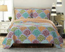 Dahlia California-King Size, Over-Sized Coverlet 3pc set, Luxury Printed Quilt