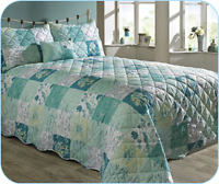 new PAIR OF TEAL COUNTRY GARDEN PILLOW SHAMS RINGLEY HOME COLLECTION 50cm x 75cm