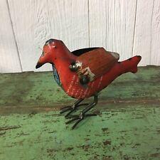 Red Metal Cardinal Bird Statue Figurine Desk Shelf Accent Art Unique Hand-Made