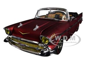 1957 CHEVROLET BEL AIR CONVERTIBLE SATIN RED LTD 1/24 DIECAST CAR M2 40300-68 B