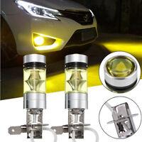 2PCS 4300k Yellow LED H3 High Power 100W 2828 Car Fog Light Bulb DRL 2000LM Lamp
