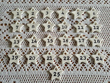 DIY Handmade Christmas Advent Calendar Clay Stamped Numbers, Shabby Chic