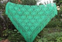 RUSSIAN HANDMADE CROCHET WOMEN'S SHAWL SCARF WRAP GREEN KNITTED CAPELET