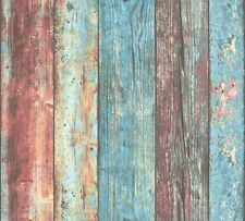 Vliestapete Holz-Optik Brett Vintage bunt türkis AS Creation 30723-1 (2,14€/1qm)