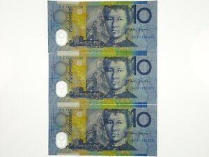 1994 Ten Dollars Fraser / Evans Run of Three Consecutive First Prefix Banknotes