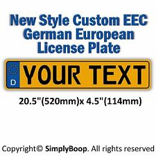 Germany European EEC Aluminum License Plate Yellow Black Custom Personalized