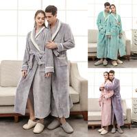 Soft Fleece Dressing Gown Long Bath Robe Pockets Unisex Ladies Mens M XL 3XL