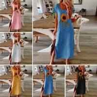 Women Party Evening Long Dress Sunflower Summer Short Sleeve Beach Dresses