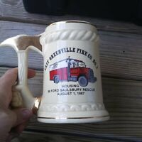 vintage 1987  Fire Station Fireman  station 38 east greenville/ beverage stein .