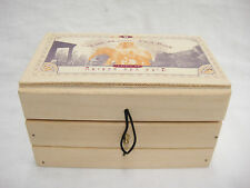 Wooden Magic Tea Box Divided Storage Caddy with Hinged Lid