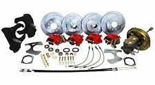 "DELUXE 1966-70 CHEVY IMPALA POWER FRONT & REAR 4 WHEEL DISC BRAKE KIT - 2"" DROP"