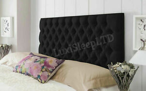 """Black Colchester Plush Fabric Double Bed Headboard Super King Size 26"""" Tall"""