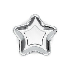 6 x Silver Star Plates - Space Party Boys Birthday Party Rocket Decorations