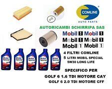 KIT TAGLIANDO FILTRI + OLIO MOBIL 5W30 LL VW GOLF 6 1.6 TDI CAY 2.0 TDI CFF