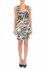 Just Cavalli Multi-Color Deep V-Neck Sleeveless Bodycon Stretch Dress US S IT 40