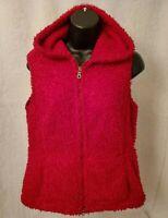 J Jill Womens Red Hooded Vest Jacket Coat Size S