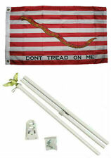 2x3 2'x3' First Navy Jack Gadsden Flag White Pole Kit Set