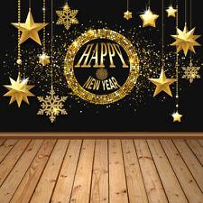 Golden Stars Happy New Year Wood Floor Vinyl Studio Backdrop Background 10x10ft