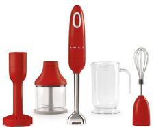 SMEG 50's Retro Style Aesthetic Hand Blender w Masher Chopper Beaker Whisk Red