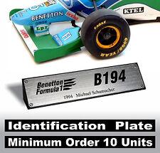 1/18 Benetton F1 186 187 188 189 190 191 192 193 194 195 Schumacher - Id. Plate