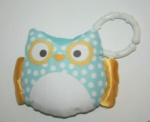 """Fisher Price Soft OWL Rattle Baby Plush Stuffed Toy 4"""" w/hanging ring"""