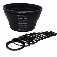 8pcs 49-52-55-58-62-67-72-77-82 mm Step UP Filter Ring Adapter Set for DSLR