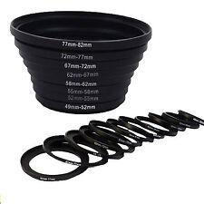 8pcs 49-52-55-58-62-67-72-77-82 mm Step UP Filter Ring Adapter Set for DSLR