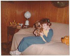 Vintage 80s PHOTO Little Redhead Girl w/ Little Pet Dog