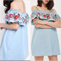 Topshop Floral Blue Embroidered Bardot Denim Look Dress Size 8 US 4 Blogger ❤