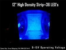 """12"""" 30cm Blue LED Strip Speaker Box-Amp-Interior Lighting 36 LED's Waterproof"""