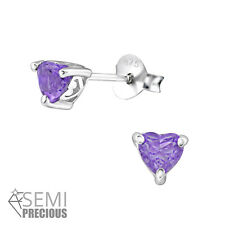 925 Sterling Silver Amethyst Gemstone Heart Stud Earrings (Design 2)
