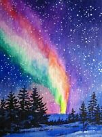 Watercolor Painting Northern Lights Night Snow Winter Wood Nature ACEO Art