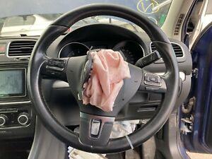 VW GOLF MK6 GT 2009 MULTIFUNCTION STEERING WHEEL 3 SPOKE BLACK LEATHER GENUINE