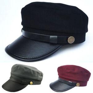 Men Women Vintage Army Leather Cap Cadet Military Navy Sailor Flat Top Sun Hat