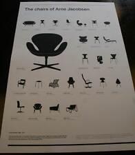 THE CHAIRS OF ARNE JACOBSEN PRINT poster scandinavian danish design eames retro