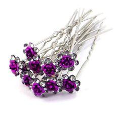 Accessoires cheveux 1 lot de 10 épingles à chignon fleurs à strass violet foncé