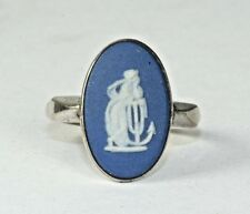 VINTAGE WEDGWOOD STERLING SILVER RING SIZE 5 HOPE & ANCHOR DARK BLUE