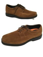 Men's Tan Suede M&S Air Flex Extra Wide Total Comfort Lace Up Shoes UK10 EUR45