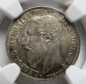BELGIUM 50 centimes 1886 NGC MS 63 Flemish - Dutch type