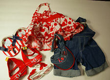 Build a Bear Clothes Lot Overalls Dress Hat Sunglasses 2 Shoes 7 pieces BABW