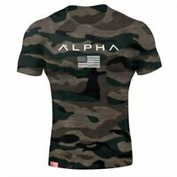 Alpha Men's Gym T-Shirt Bodybuilding Fitness Training Workout Muscle Top New Tee